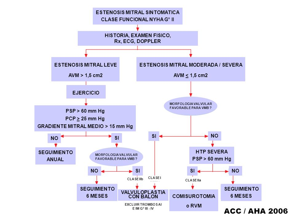 ACC / AHA 2006 ESTENOSIS MITRAL SINTOMATICA CLASE FUNCIONAL NYHA G° II