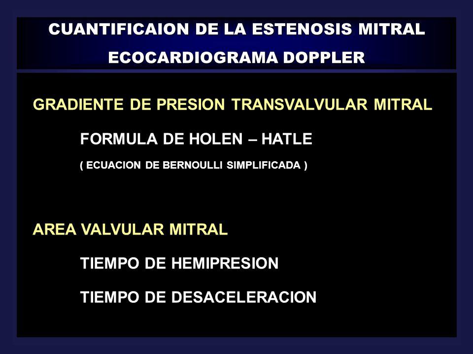 CUANTIFICAION DE LA ESTENOSIS MITRAL ECOCARDIOGRAMA DOPPLER