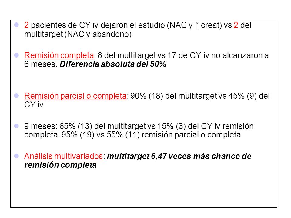 2 pacientes de CY iv dejaron el estudio (NAC y ↑ creat) vs 2 del multitarget (NAC y abandono)