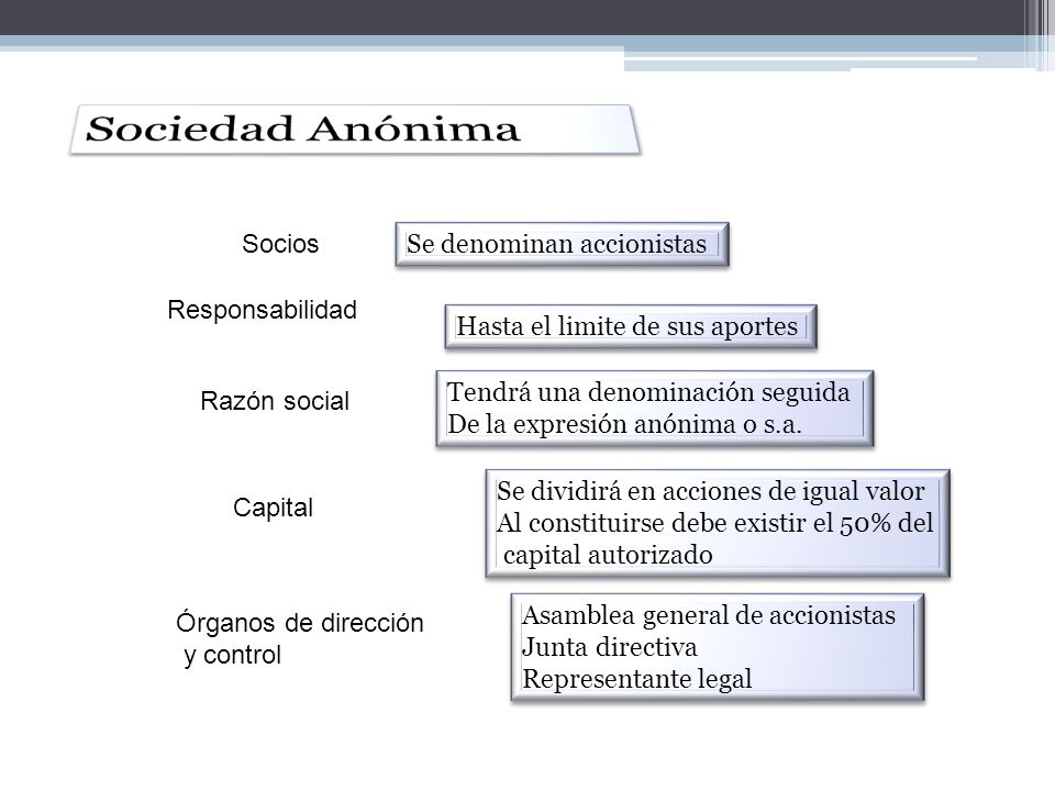 Sociedad Anónima Socios Se denominan accionistas Responsabilidad