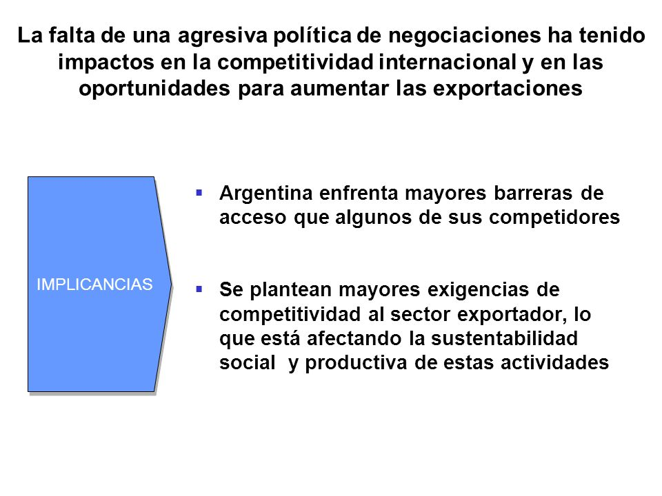 La falta de una agresiva política de negociaciones ha tenido impactos en la competitividad internacional y en las oportunidades para aumentar las exportaciones