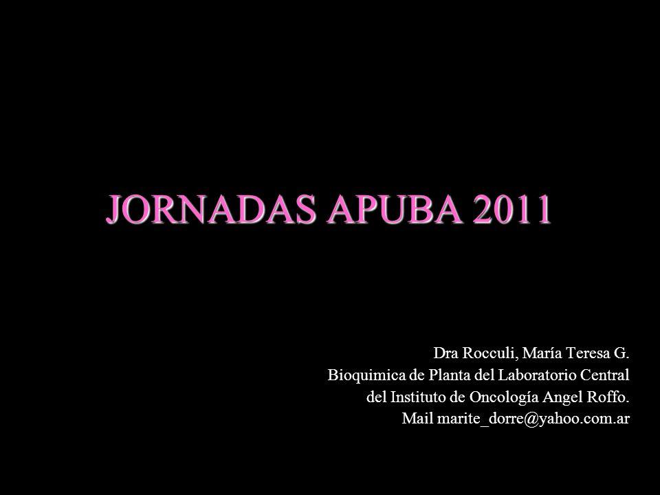 JORNADAS APUBA 2011 Dra Rocculi, María Teresa G.