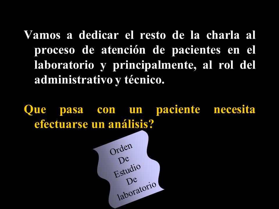 Que pasa con un paciente necesita efectuarse un análisis