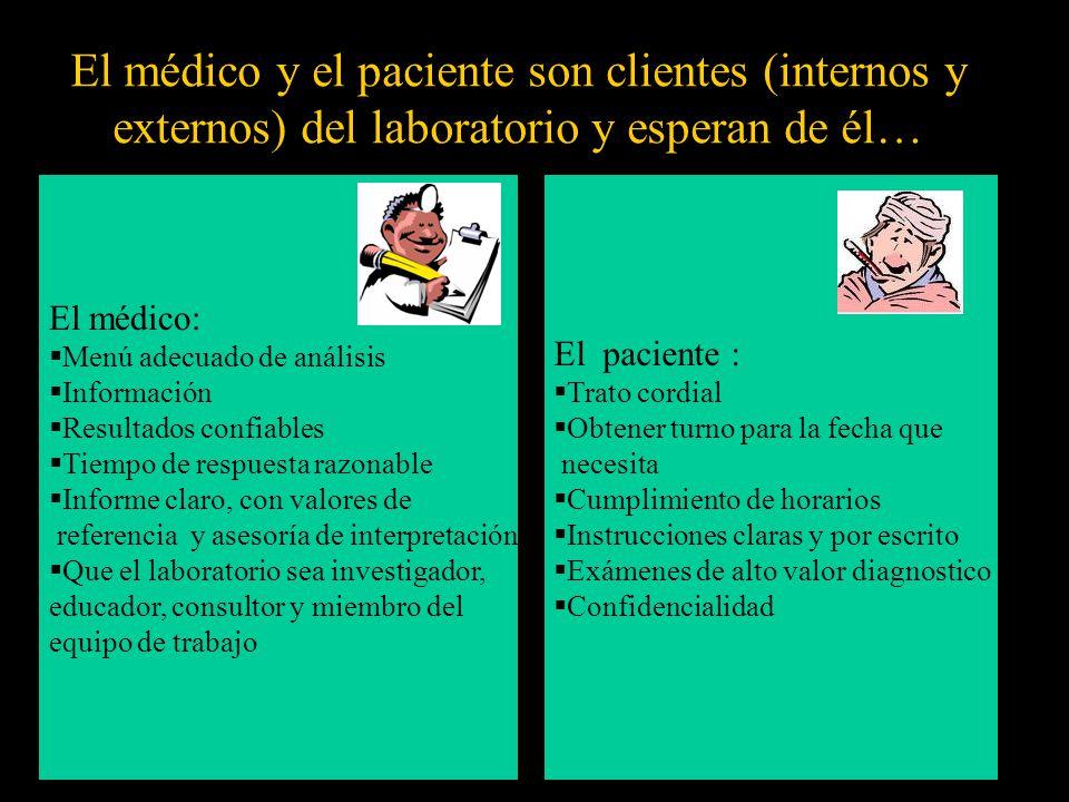El médico y el paciente son clientes (internos y externos) del laboratorio y esperan de él…