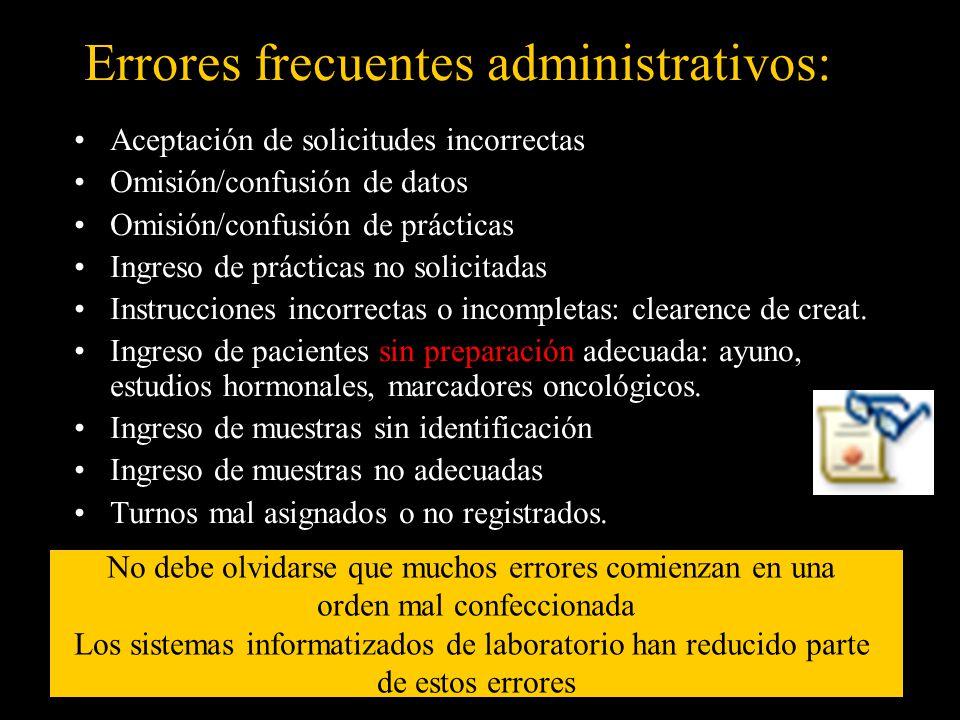 Errores frecuentes administrativos: