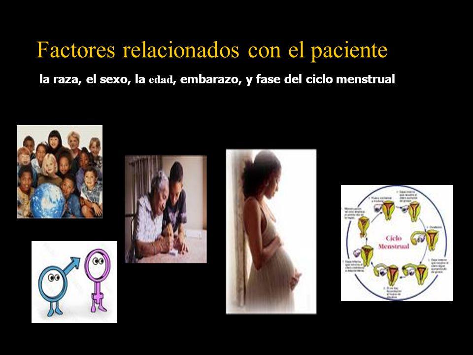 la raza, el sexo, la edad, embarazo, y fase del ciclo menstrual