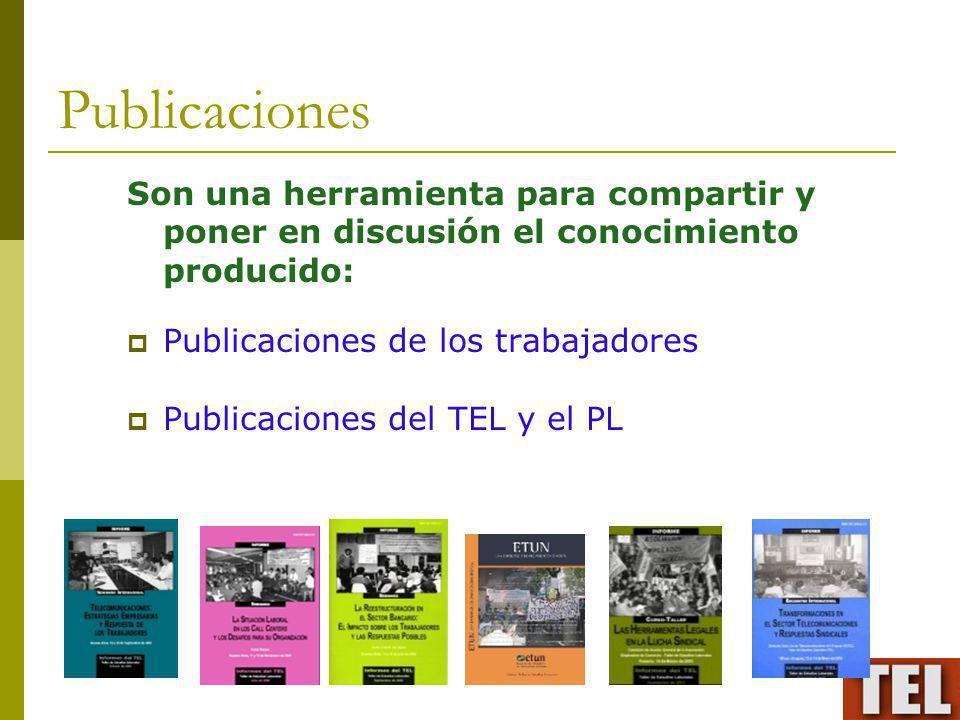 Publicaciones Son una herramienta para compartir y poner en discusión el conocimiento producido: Publicaciones de los trabajadores.
