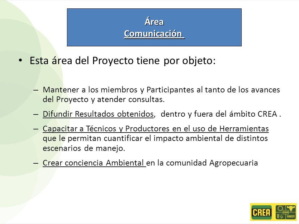 Esta área del Proyecto tiene por objeto: