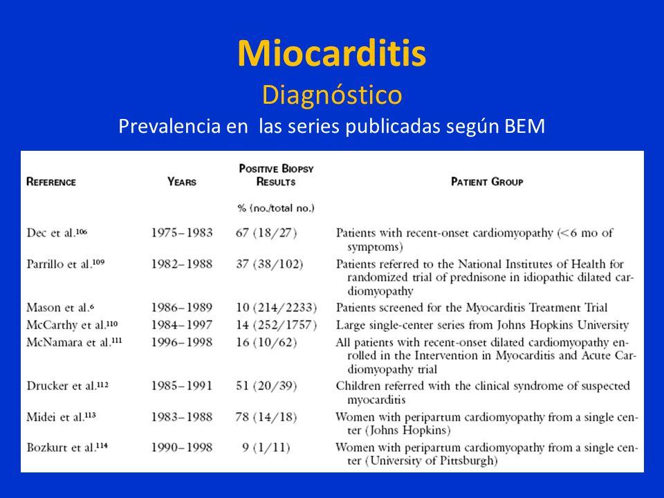 Miocarditis Diagnóstico Prevalencia en las series publicadas según BEM