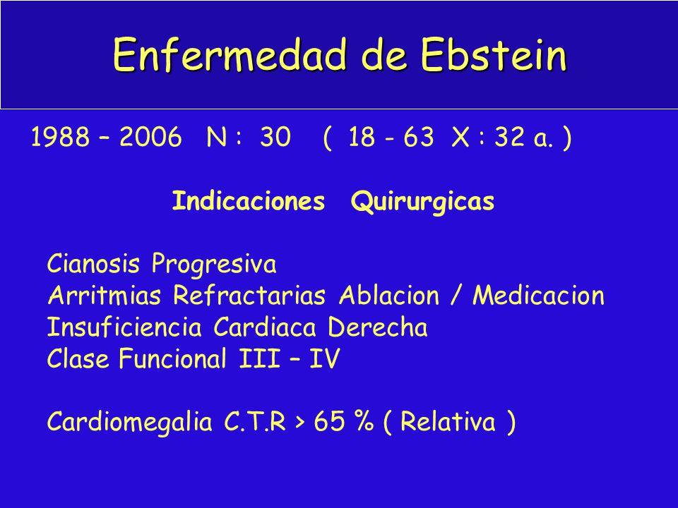 Enfermedad de Ebstein 1988 – 2006 N : 30 ( 18 - 63 X : 32 a. )