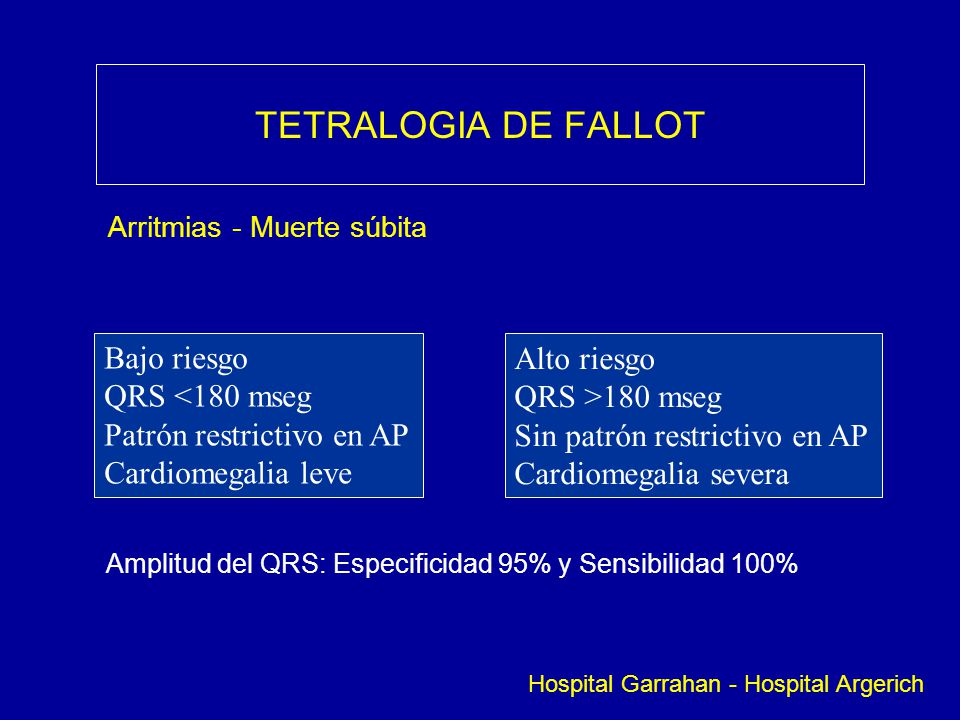 TETRALOGIA DE FALLOT Bajo riesgo Alto riesgo QRS <180 mseg