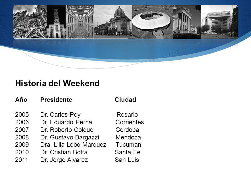 Historia del Weekend Año Presidente Ciudad 2005 Dr. Carlos Poy Rosario