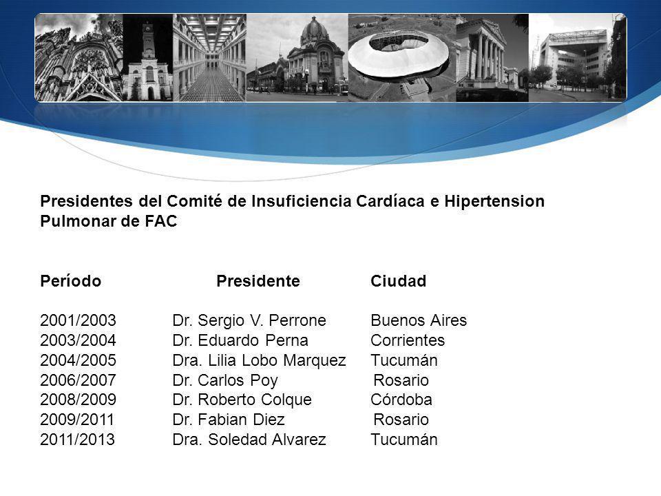 Presidentes del Comité de Insuficiencia Cardíaca e Hipertension Pulmonar de FAC