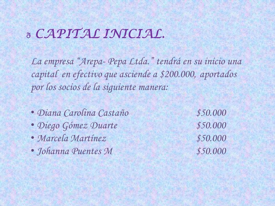 CAPITAL INICIAL.