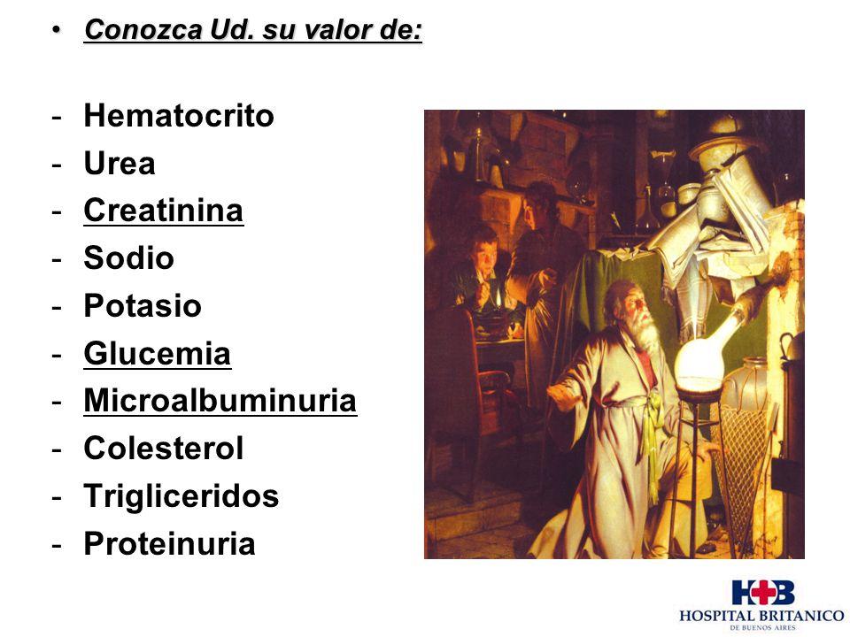 Hematocrito Urea Creatinina Sodio Potasio Glucemia Microalbuminuria