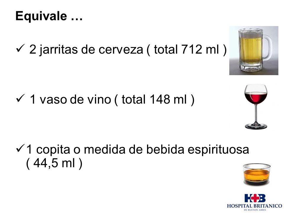 Equivale … 2 jarritas de cerveza ( total 712 ml ) 1 vaso de vino ( total 148 ml ) 1 copita o medida de bebida espirituosa ( 44,5 ml )