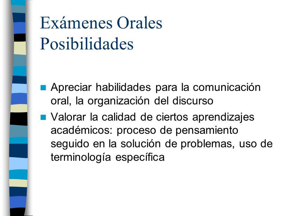 Exámenes Orales Posibilidades