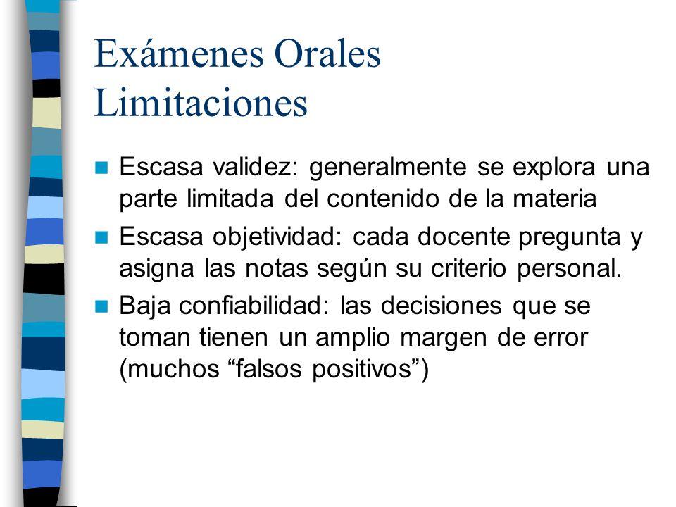 Exámenes Orales Limitaciones