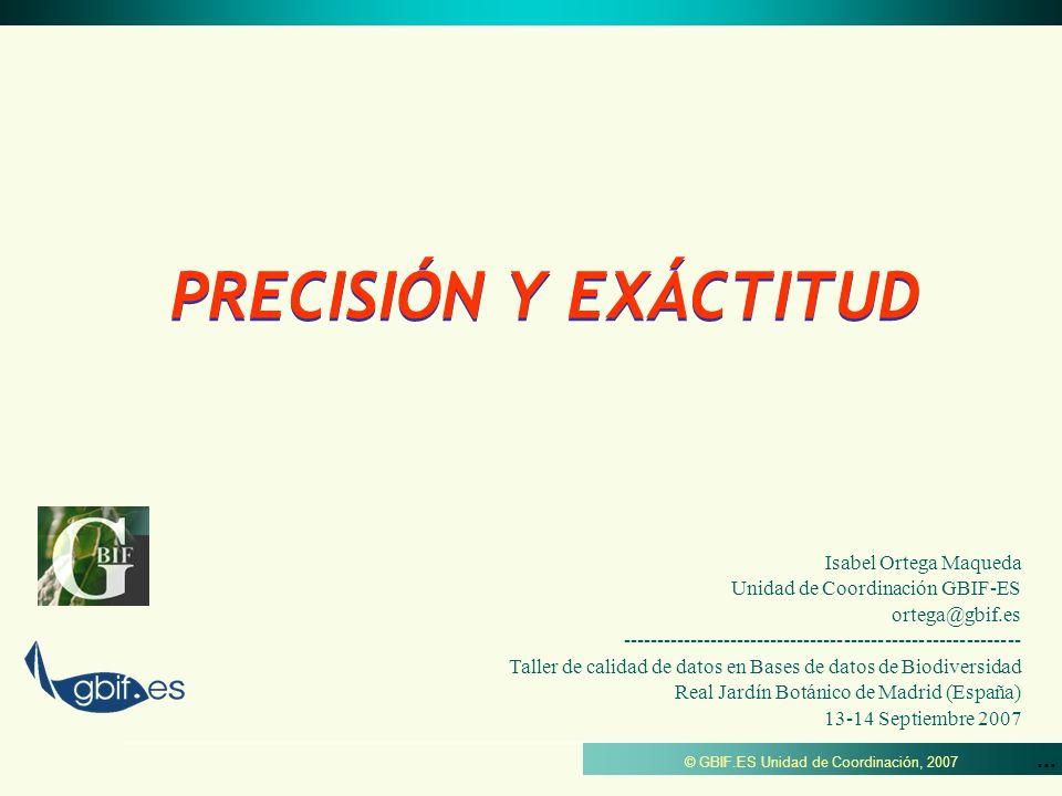 PRECISIÓN Y EXÁCTITUD Isabel Ortega Maqueda