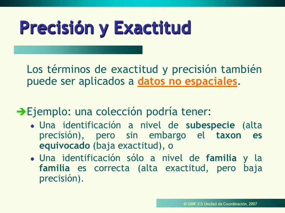 Precisión y Exactitud ... Los términos de exactitud y precisión también puede ser aplicados a datos no espaciales.