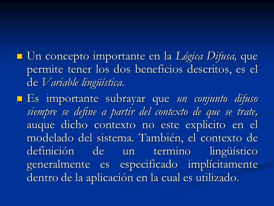 Un concepto importante en la Lógica Difusa, que permite tener los dos beneficios descritos, es el de Variable lingüística.