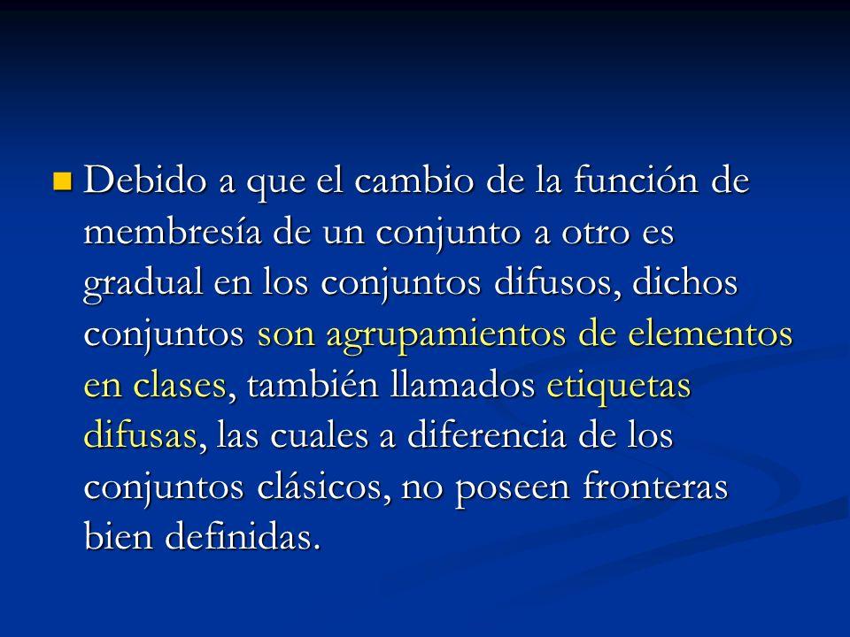 Debido a que el cambio de la función de membresía de un conjunto a otro es gradual en los conjuntos difusos, dichos conjuntos son agrupamientos de elementos en clases, también llamados etiquetas difusas, las cuales a diferencia de los conjuntos clásicos, no poseen fronteras bien definidas.