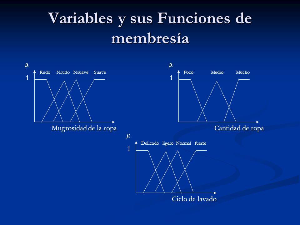 Variables y sus Funciones de membresía