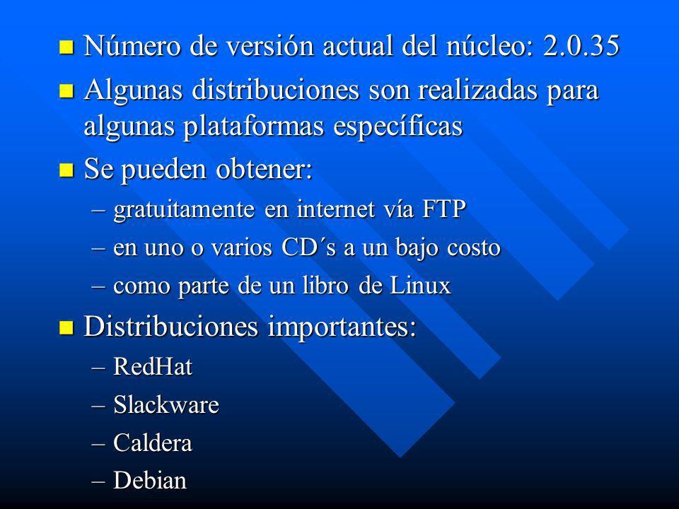 Número de versión actual del núcleo: 2.0.35