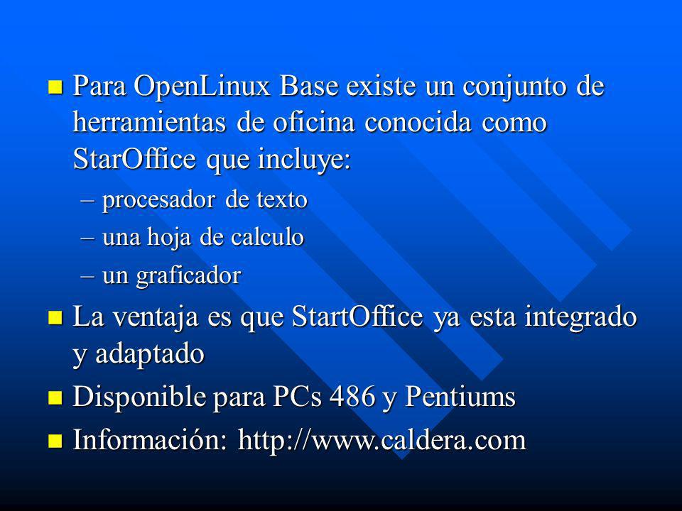 La ventaja es que StartOffice ya esta integrado y adaptado