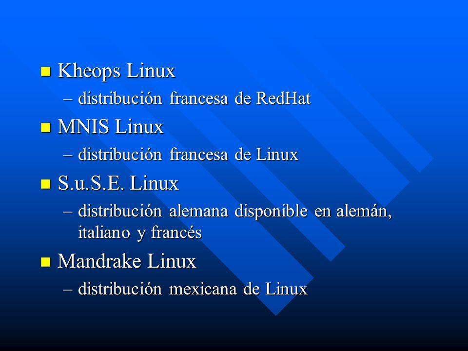 Kheops Linux MNIS Linux S.u.S.E. Linux Mandrake Linux