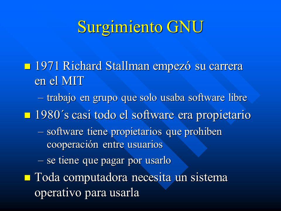 Surgimiento GNU 1971 Richard Stallman empezó su carrera en el MIT