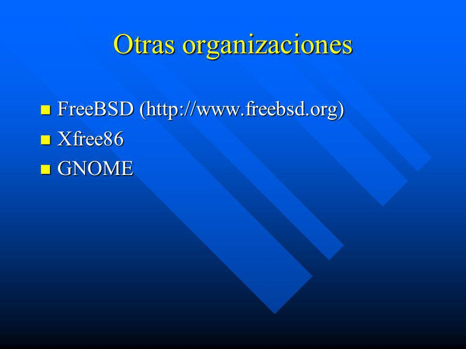Otras organizaciones FreeBSD (http://www.freebsd.org) Xfree86 GNOME