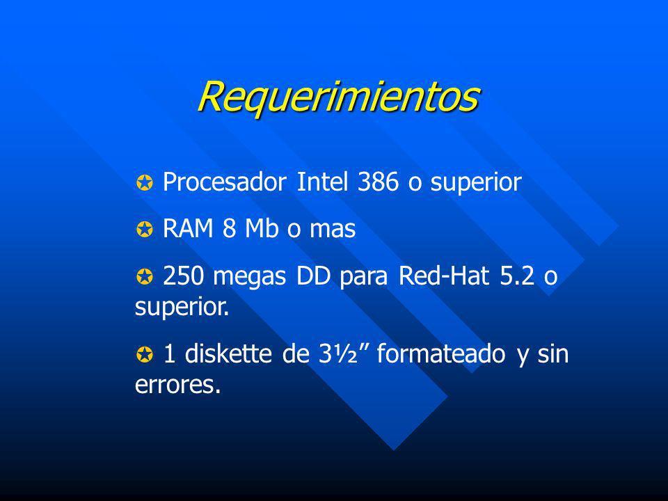 Requerimientos Procesador Intel 386 o superior RAM 8 Mb o mas