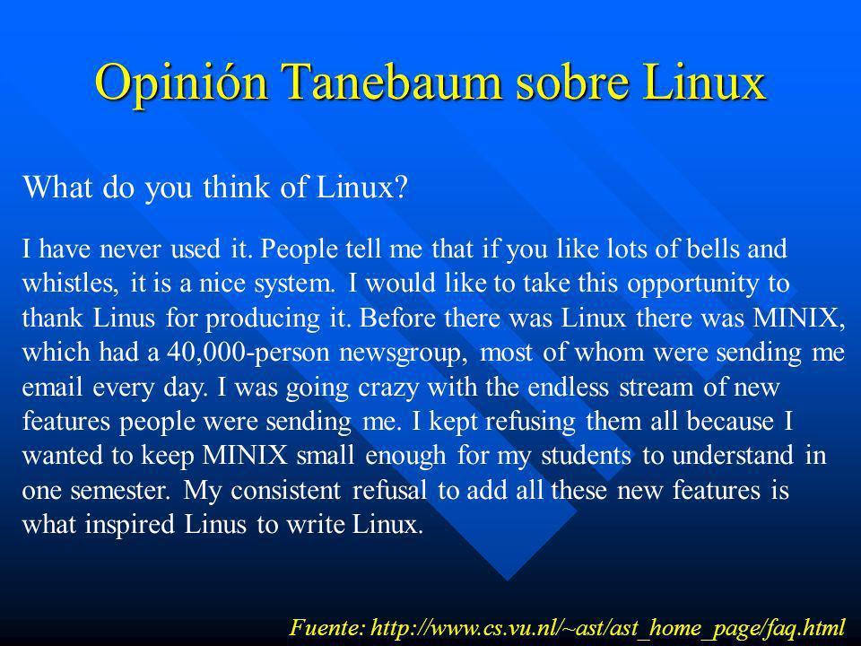 Opinión Tanebaum sobre Linux