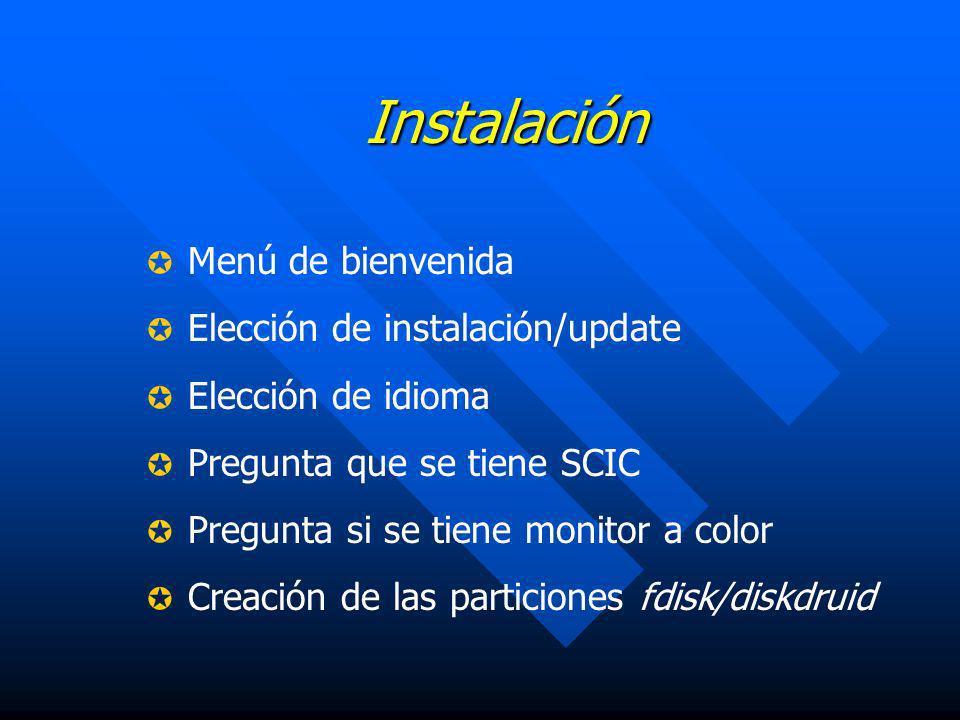 Instalación Menú de bienvenida Elección de instalación/update