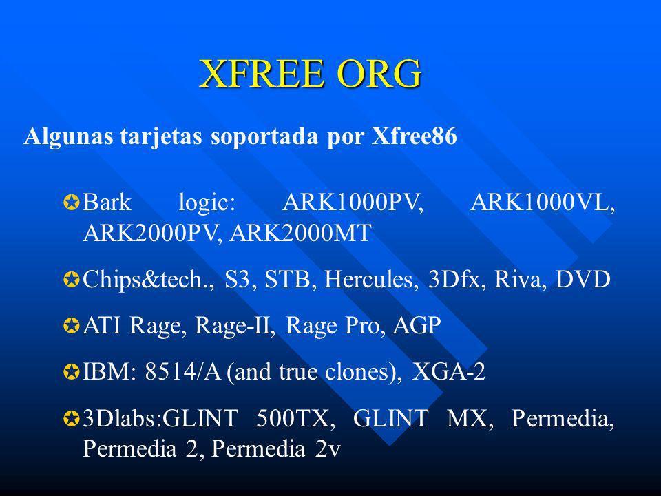 XFREE ORG Algunas tarjetas soportada por Xfree86
