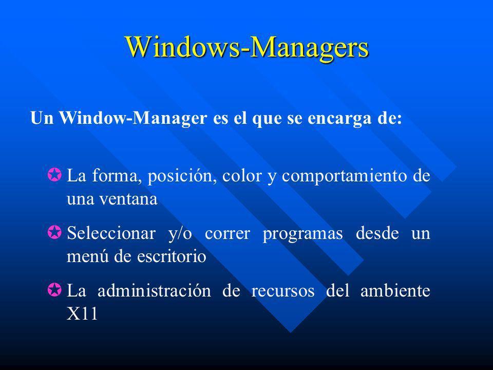 Windows-Managers Un Window-Manager es el que se encarga de: