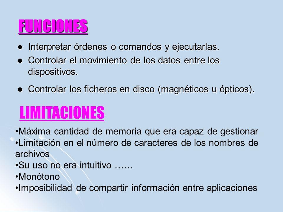 FUNCIONES LIMITACIONES Interpretar órdenes o comandos y ejecutarlas.