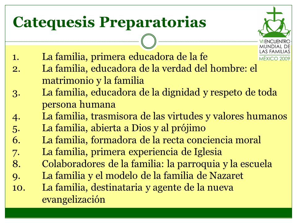 Catequesis Preparatorias