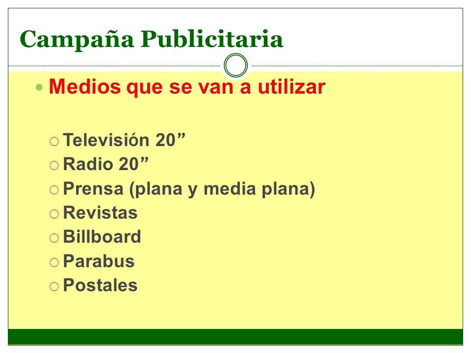 Campaña Publicitaria Medios que se van a utilizar Televisión 20