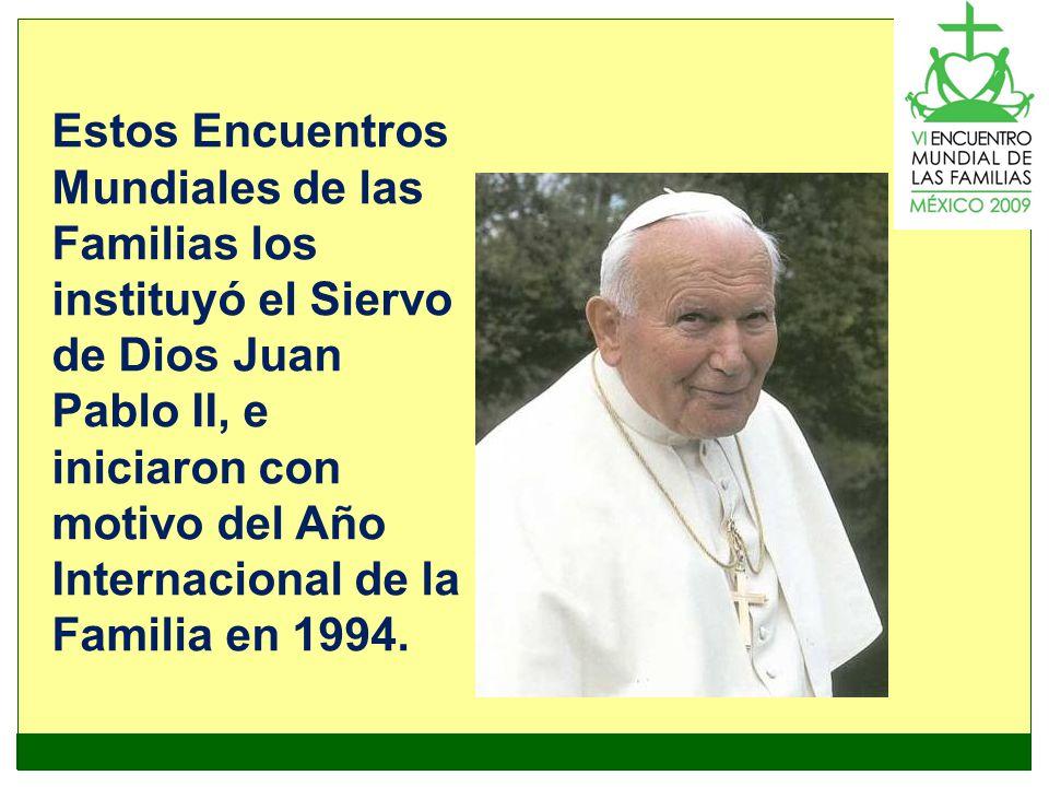 Estos Encuentros Mundiales de las Familias los instituyó el Siervo de Dios Juan Pablo II, e iniciaron con motivo del Año Internacional de la Familia en 1994.