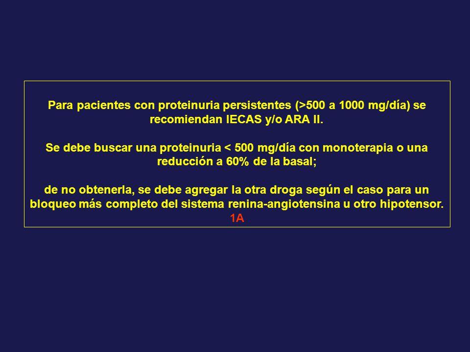 Para pacientes con proteinuria persistentes (>500 a 1000 mg/día) se recomiendan IECAS y/o ARA II.