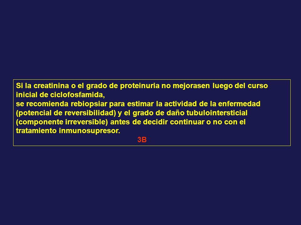 Si la creatinina o el grado de proteinuria no mejorasen luego del curso inicial de ciclofosfamida,
