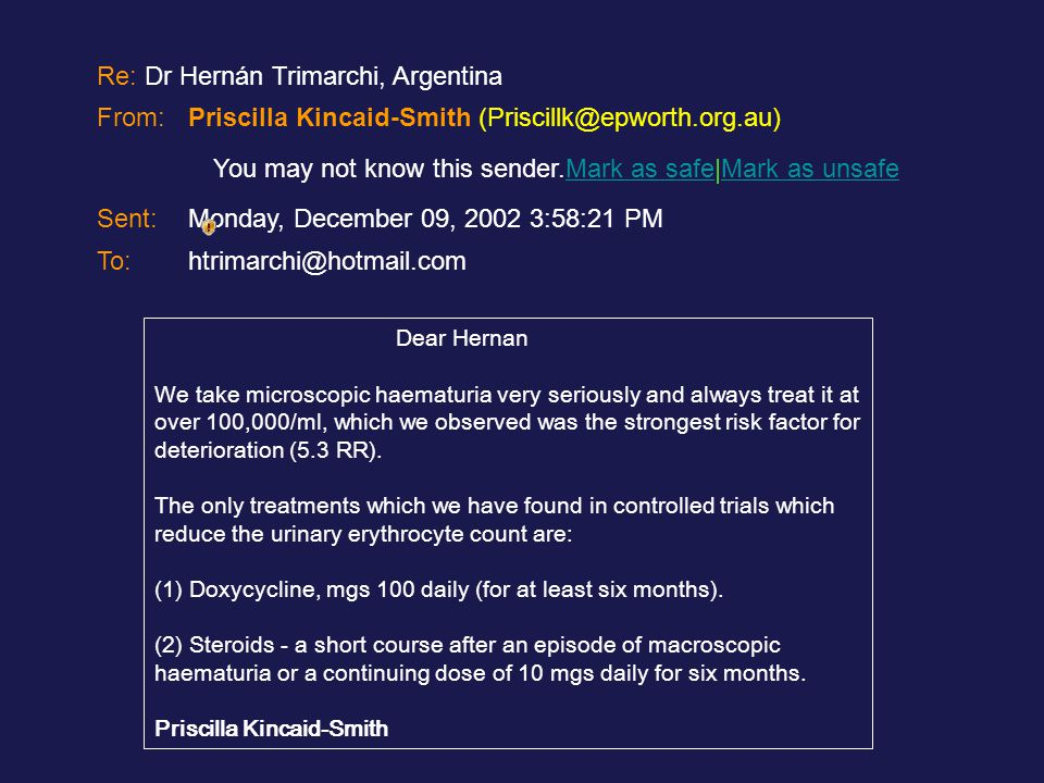 Re: Dr Hernán Trimarchi, Argentina‏ From: