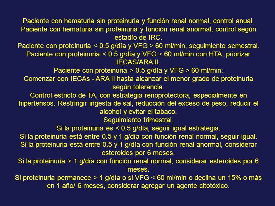 Paciente con proteinuria > 0.5 g/día y VFG > 60 ml/min: