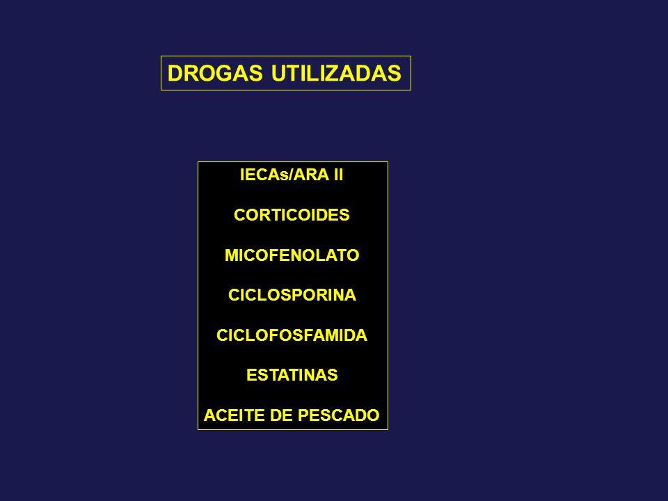 DROGAS UTILIZADAS IECAs/ARA II CORTICOIDES MICOFENOLATO CICLOSPORINA