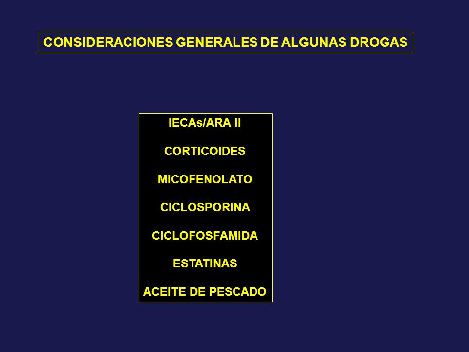 CONSIDERACIONES GENERALES DE ALGUNAS DROGAS