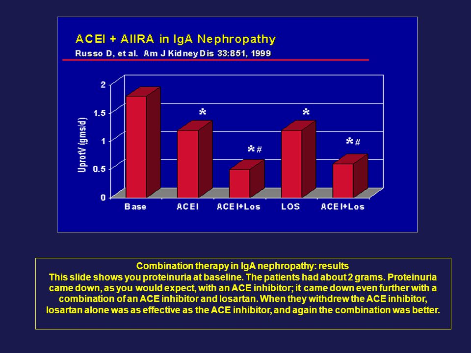 Combination therapy in IgA nephropathy: results This slide shows you proteinuria at baseline.
