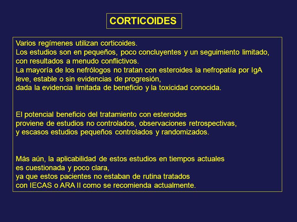 CORTICOIDES Varios regímenes utilizan corticoides.