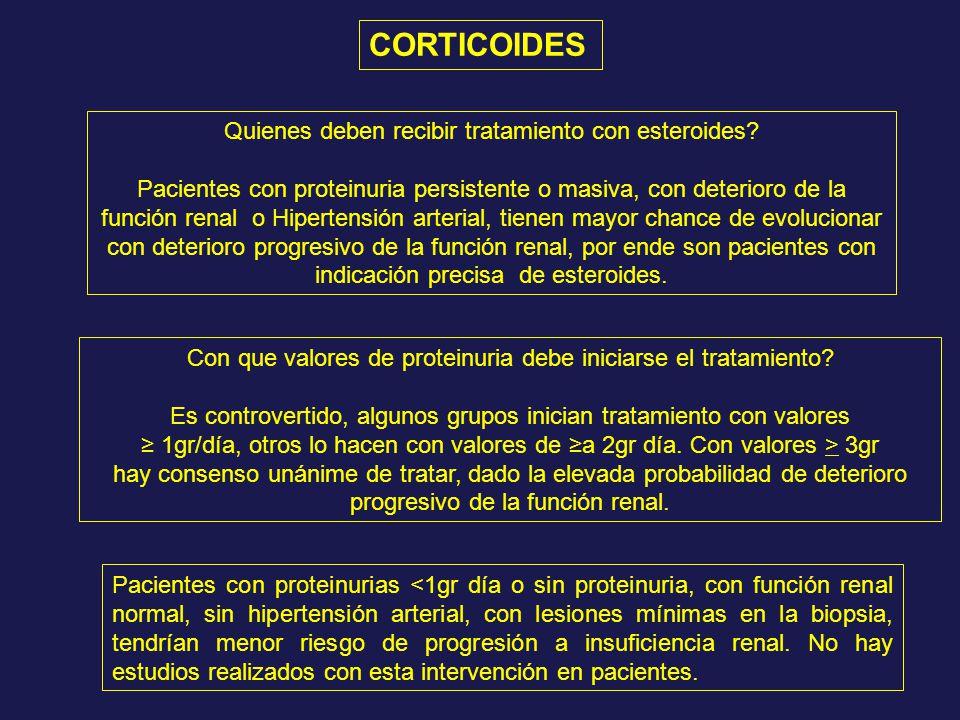 CORTICOIDES Quienes deben recibir tratamiento con esteroides